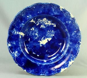 Antique 1800 S Blue White Spongeware Charger Plate Spatterware