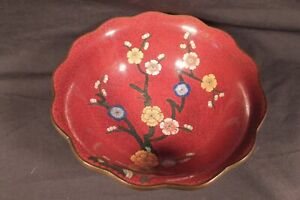 Antique Chinese Cloisonne Colorful Flower Tree Bowl 10 5cm