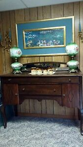 Antique Queen Anne Style Mirrored Vintage Buffet Server Sideboard