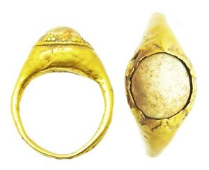 Wonderful Ancient Roman Gold Finger Ring Stirrup Type Faux Pearl 2nd Century Ad