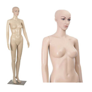 Plastic Full Body Female Mannequin W metal Metal Base Head Turns Display Dress