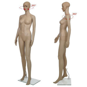 68 90 Female Mannequin Plastic Display Full Body Head Turns Dress Form W Base