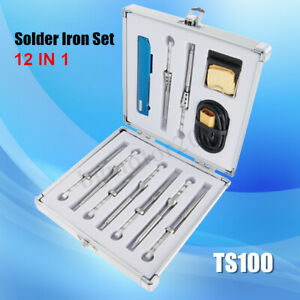 12 In 1 Ts100 Soldering Iron Kit With 9pcs Tips 1pc Xt60 Cable 1pc Holder Us