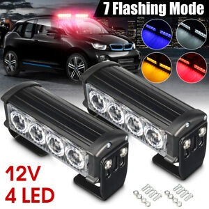 4 Led 12v Car Amber Strobe Flash Grille Light Warning Hazard Emergency Lamp Dash
