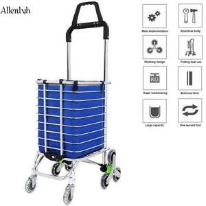 Aluminum Folding Portable Shopping Grocery Basket Cart Trolley Swivel Wheels Us