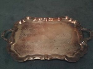 F B Rogers Large Silver Plated Footed Tray Platter