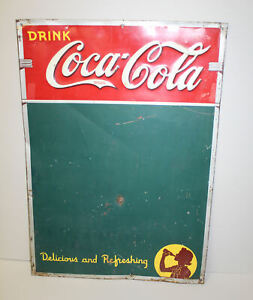 Coca-Cola Coke Soda Tin Advertising Sign and Menu Board – 1941 Dated
