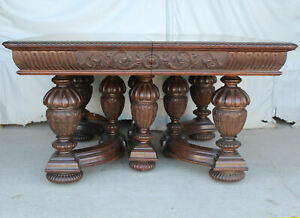Antique Victorian Square Oak Dining Table 5 Leaves 129