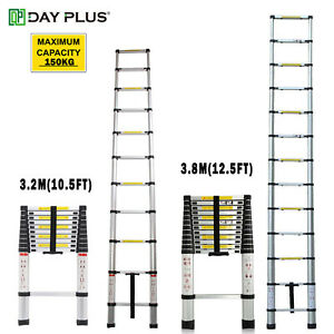 Telescopic Ladder Aluminium Portable Lightweight Design Extendable Home Diy Tool