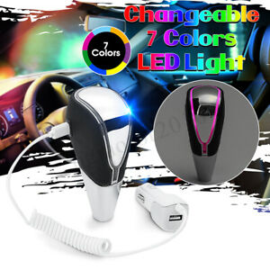 Car Auto Gear Shift Knob Rgb Led Light 7 Color Touch Activated Sensor Usb Charge