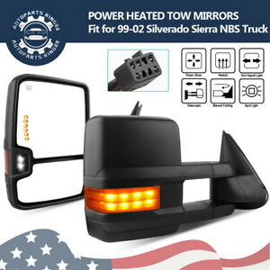 Fit For 99 02 Chevy Silverado Gmc Sierra Tow Mirrors Power Heated Signal Backup