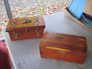 2 Wooden Boxes 1 Is Cedar Both Need Some Restoration Work Nice Size