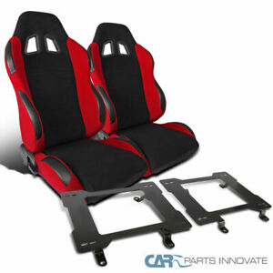 79 98 Ford Mustang Black Red Racing Bucket Seats Laser Welded Mounting Brackets