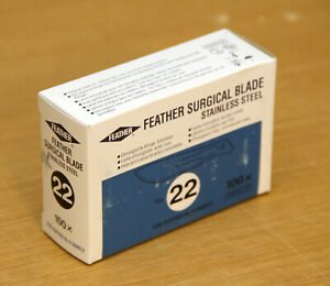 Feather Surgical Blade 22 Stainless Steel Scalpel Leica 3802160 Box Of 100