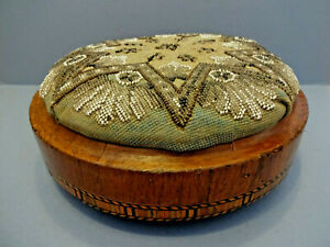 Antique Mid Victorian Circular Foot Stool With Tapestry Padded Top C 1870 90
