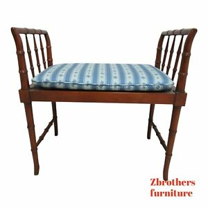 Vintage Baker Furniture Faux Bamboo Foot Stool Bench Ottoman Vanity Seat