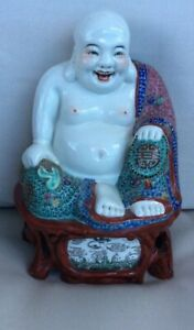 Signed Antique Chinese Porcelain Laughing Buddha Familie Rose Handpainted 1920