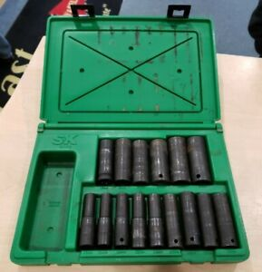 Sk Tools 4048 15pc 1 2 Metric Deep Impact Socket Set Pre owned Free Shipping