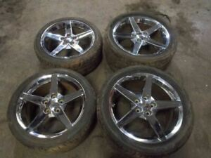 Chevy Corvette C6 Set Of Four Factory 18 19 Staggered Wheels Tires Chrome