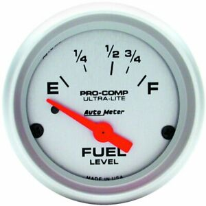 Auto Meter Ultra Lite Electrical Fuel Level Gauge 2 1 16 Dia Silver Face 4315