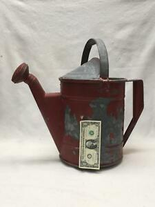 Antique Huge 2 5 Gallon Heavy Galvanized Steel Watering Can W Sprinkler Red