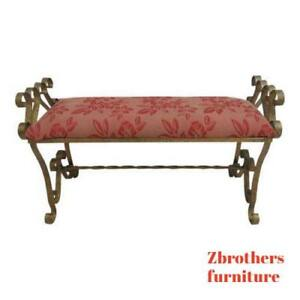 Vintage French Regency Scrolled Metal Gold Window Bench Seat Stool Ottoman