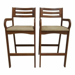 Pair Danish Modern Teak Ladder Back Bar Counter Arm Stools Arm Mid Century D