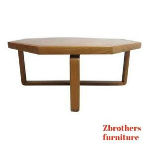 Vintage Mid Century Lane X Base Octagon Floating Coffee Table