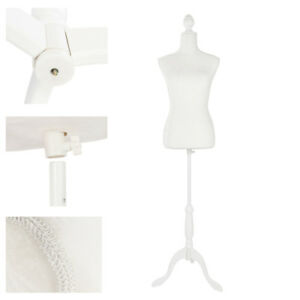 Female Mannequin Torso Clothes Dress Glass Form Display Tripod Stand White