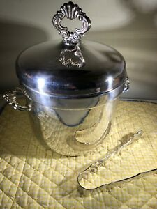 Vintage F B Rogers Silver Plate Ice Bucket Milk Glass Cork Insulated W Tongs