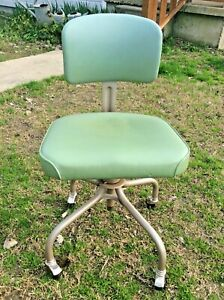 Vintage Steelcase Industrial Swivel Office Chair Rolling Wheels Green 1965 Mcm