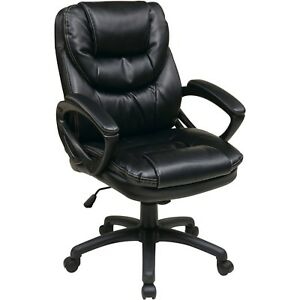 Faux leather Executive Swivel Manager s Office Chair With Padded Arms