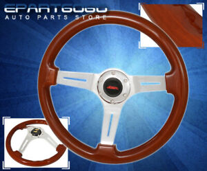 For Vw 345mm 2 Dtm Euro Steel Body Wood Grain Steering Wheel Brown Horn Button