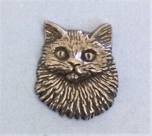 Realistic Pewter Cat Button