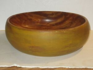 Large Vintage Wooden Bowl With Mustard Yellow Paint
