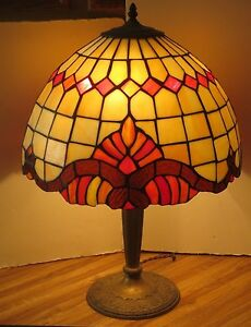 Bradley And Hubbard Antique Lamp With Old Stained Glass Shade Marked