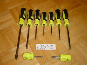 Snap on Tools New Unused 9 Pc High Vis Yellow Soft Grip Handle Screwdriver Set