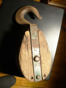 Antique Primitive Barn Large Single Block Tackle Wooden Pulley Signed Pb