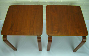 Mid Century Danish Modern Teak Molded Bent Ply Stacking Side End Tables