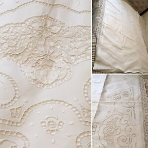 Victorian Embroidered French Pure Linen Lace Bed Sheet Tapestry Coverlet 72 X92