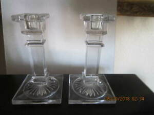 Pair Vintage Lead Crystal Clear Glass Deco Style Candlesticks Beauty 5 5 Tall