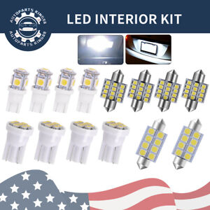 14x White T10 31mm Led Interior Package Kit Map Dome License Plate Light Bulb
