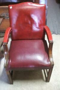 Chair Red Vinyl Arm Vintage Antique Club Pub Office 1