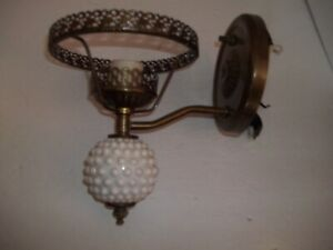 Vintage Early American Brass Electric Wall Light Milk Glass Lamp For Restoration