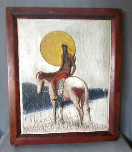 Vintage Arts Crafts Style Hand Carved Wooden Plaque Native American Indian