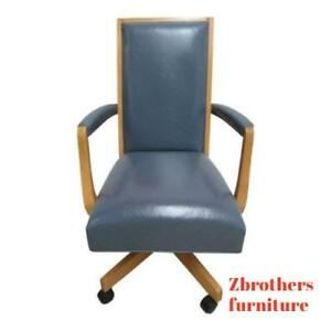 Ethan Allen American Dimensions Leather Denim Office Desk Chair