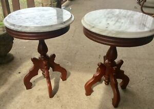Vtg Regency Pair Wood Antique Italy Victorian Marble Top Lamp End Side Tables