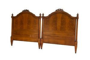 Pair Of Antique Twin Headboards In Flame Mahogany By Irwin Furniture