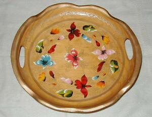 Old Wooden Serving Fruit Bowl W Handles Hand Painted Flower Decoration