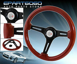 350mm Light Wood Black Weight Steering Wheel Jdm Racing Race Button Horn Logo